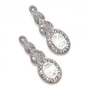 Marcasite and Cubic Zirconia Pierced Earrings (12455)