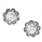 Marcasite and Cubic Zirconia Pierced Earrings (12457)