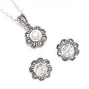 Marcasite and Cubic Zirconia Necklace and pierced earrings set (12458)