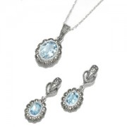 Marcasite and Blue Topaz Jewellery Set (12460)