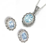 Marcasite and Blue Topaz Jewellery Set (12461)