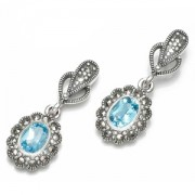 Marcasite and BLue Topaz Earrings (12463)