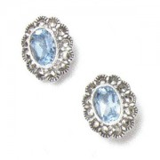 Marcasite and Blue Topaz Pierced Earrings (12464)
