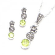 Marcasite and Peridot Necklace and Earring Set (12472)