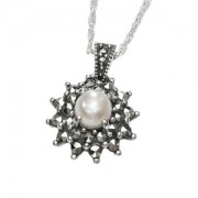 Marcasite Jewellery Necklace with Fresh Water Pearl (12473)