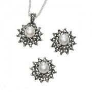 Marcasite and Fresh Water Pearl Necklace and Earring Set (12820)