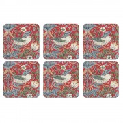 Stawberry Thief Red Coasters Set of 6 (21761)
