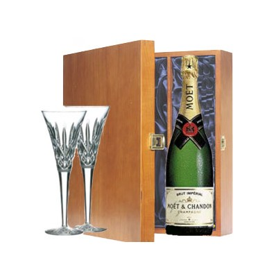 Champagne and Waterford Flutes Presentation Gift Set (11208)