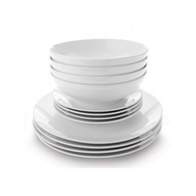 White Basics Coupe 12 Piece Dinner Set (12065)