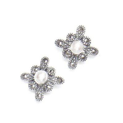 Marcasite and Fresh Water Pearl Earrings (12823)