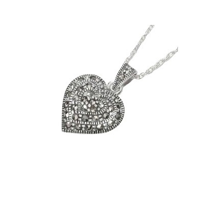 Marcasite and Sterling Silver Heart Shaped Pendant (12827)