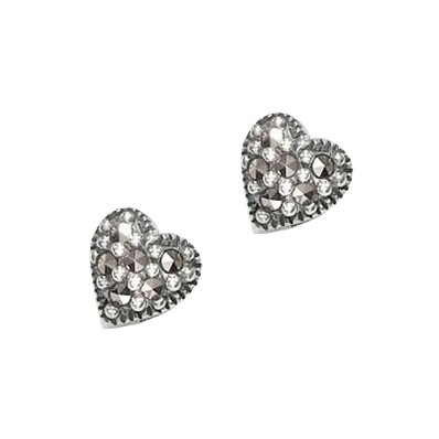 Marcasite and Sterling Silver Heart Shaped Earrings (12828)