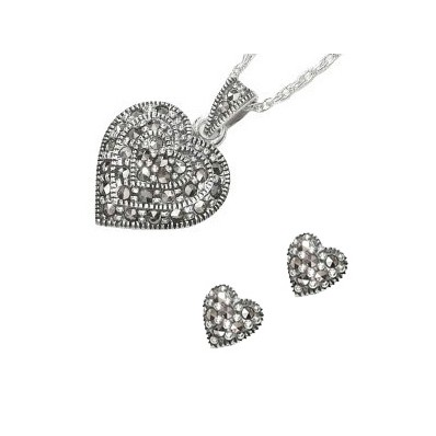 Marcasite and Sterling Silver Heart Shaped Pendant and Earring Set (12829)