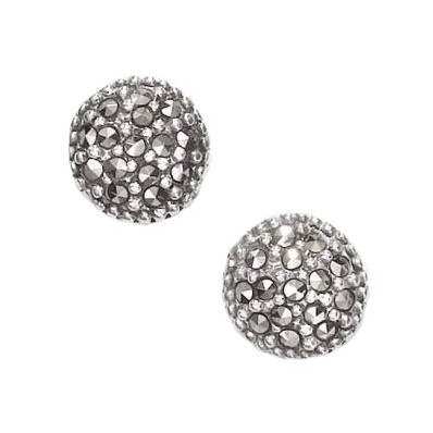 Marcasite and Sterling Silver Round Shaped Pierced Earrings (12831)