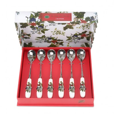 Portmerion Holly & Ivy Set of 6 Tea Spoons (14085)