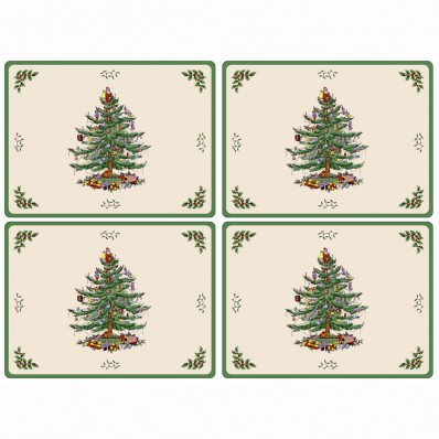 4 Spode Christmas Tree Large Tablemats (14433)