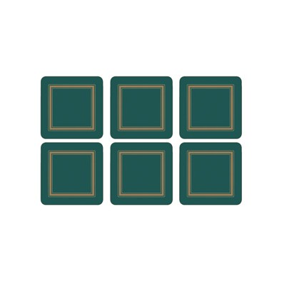6 Classic Emerald Green Coasters (15359)