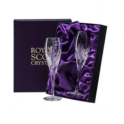 Royal Scot Highland Box of 2 Flute Champagne Glasses (15632)