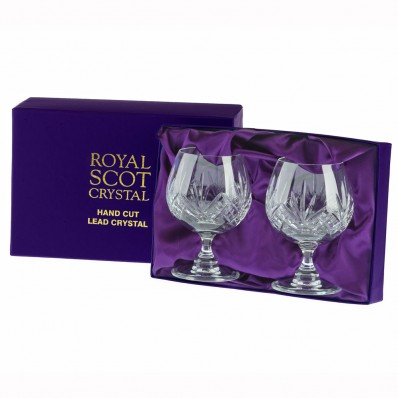 havens royal scot highland cut crystal glass pair of brandy glasses. Black Bedroom Furniture Sets. Home Design Ideas
