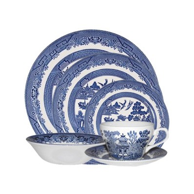 Havens Churchill China Tableware Blue Willow 24 Piece