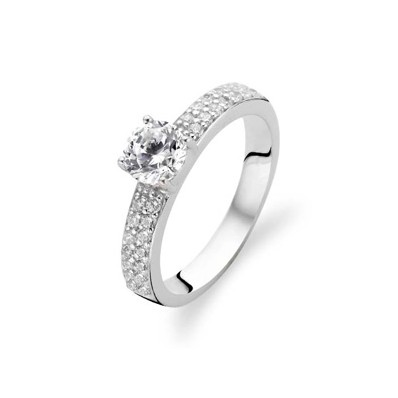 Sterling Silver CZ Solitaire Band Ring (16825)