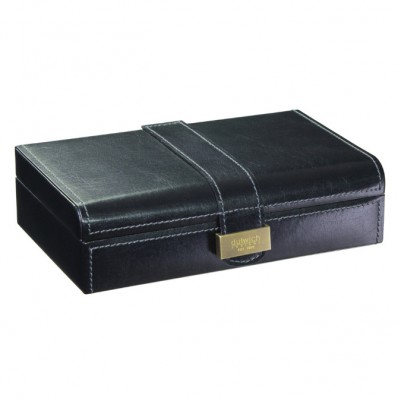 Heritage Black Leather Cufflink Box  with Grey Suedette Lining (18751)