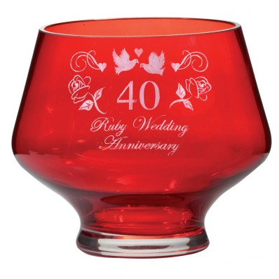 Ruby Wedding Anniversary Gift For Parents Uk : Royal Scot 40th Wedding Anniversary Ruby Heeled Bowl - Havens