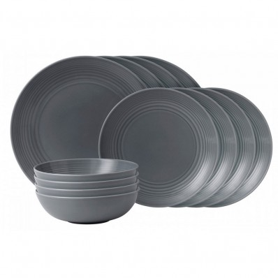 Gordon Ramsay Maze Dark Grey Dinner Set 12 Piece Havens