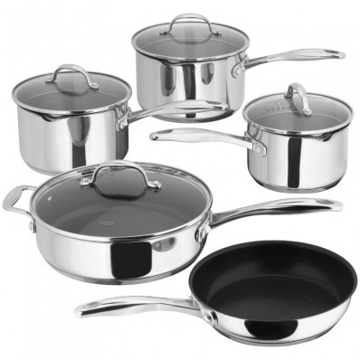 5 Piece Saucepan Draining Set Glass Lids (29202)