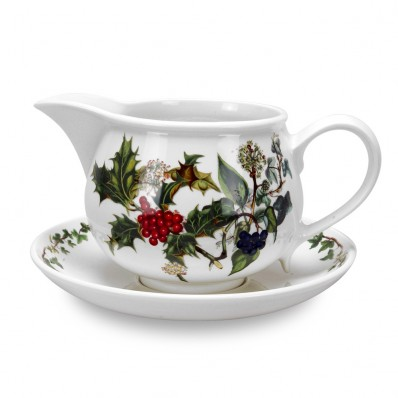Portmeirion Holly & Ivy Gravy Boat and Stand (4721)
